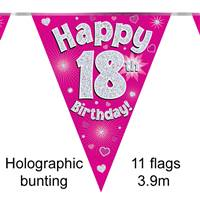BUNTING HAPPY 18TH BIRTHDAY PINK HOLOGRAPHIC 11 FLAGS 3.9M