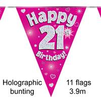 BUNTING HAPPY 21ST BIRTHDAY PINK HOLOGRAPHIC 11 FLAGS 3.9M