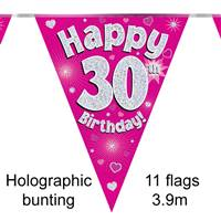 BUNTING HAPPY 30TH BIRTHDAY PINK HOLOGRAPHIC 11 FLAGS 3.9M