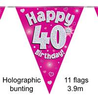 BUNTING HAPPY 40TH BIRTHDAY PINK HOLOGRAPHIC 11 FLAGS 3.9M