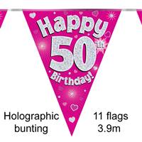 BUNTING HAPPY 50TH BIRTHDAY PINK HOLOGRAPHIC 11 FLAGS 3.9M