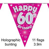 BUNTING HAPPY 60TH BIRTHDAY PINK HOLOGRAPHIC 11 FLAGS 3.9M