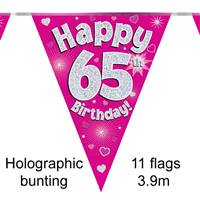BUNTING HAPPY 65TH BIRTHDAY PINK HOLOGRAPHIC 11 FLAGS 3.9M