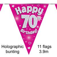 BUNTING HAPPY 70TH BIRTHDAY PINK HOLOGRAPHIC 11 FLAGS 3.9M