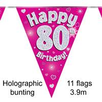 BUNTING HAPPY 80TH BIRTHDAY PINK HOLOGRAPHIC 11 FLAGS 3.9M