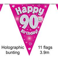 BUNTING HAPPY 90TH BIRTHDAY PINK HOLOGRAPHIC 11 FLAGS 3.9M