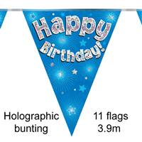 BUNTING HAPPY BIRTHDAY BLUE HOLOGRAPHIC 11 FLAGS 3.9M