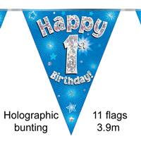 BUNTING HAPPY 1ST BIRTHDAY BLUE HOLOGRAPHIC 11 FLAGS 3.9M