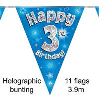 BUNTING HAPPY 3RD BIRTHDAY BLUE HOLOGRAPHIC 11 FLAGS 3.9M