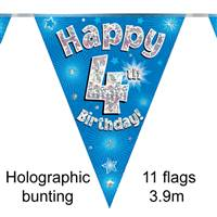 BUNTING HAPPY 4TH BIRTHDAY BLUE HOLOGRAPHIC 11 FLAGS 3.9M