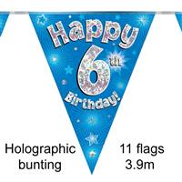 BUNTING HAPPY 6TH BIRTHDAY BLUE HOLOGRAPHIC 11 FLAGS 3.9M