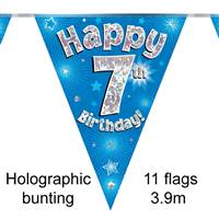 BUNTING HAPPY 7TH BIRTHDAY BLUE HOLOGRAPHIC 11 FLAGS 3.9M