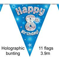 BUNTING HAPPY 8TH BIRTHDAY BLUE HOLOGRAPHIC 11 FLAGS 3.9M