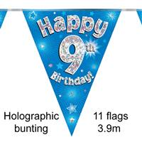 BUNTING HAPPY 9TH BIRTHDAY BLUE HOLOGRAPHIC 11 FLAGS 3.9M