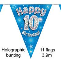 BUNTING HAPPY 10TH BIRTHDAY BLUE HOLOGRAPHIC 11 FLAGS 3.9M