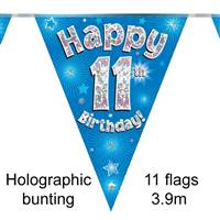 BUNTING HAPPY 11TH BIRTHDAY BLUE HOLOGRAPHIC 11 FLAGS 3.9M