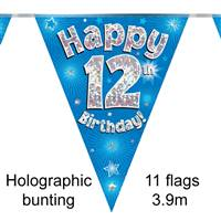 BUNTING HAPPY 12TH BIRTHDAY BLUE HOLOGRAPHIC 11 FLAGS 3.9M
