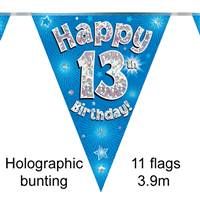 BUNTING HAPPY 13TH BIRTHDAY BLUE HOLOGRAPHIC 11 FLAGS 3.9M