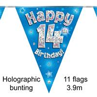 BUNTING HAPPY 14TH BIRTHDAY BLUE HOLOGRAPHIC 11 FLAGS 3.9M