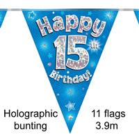 BUNTING HAPPY 15TH BIRTHDAY BLUE HOLOGRAPHIC 11 FLAGS 3.9M