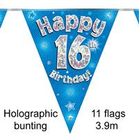 BUNTING HAPPY 16TH BIRTHDAY BLUE HOLOGRAPHIC 11 FLAGS 3.9M