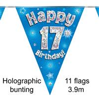 BUNTING HAPPY 17TH BIRTHDAY BLUE HOLOGRAPHIC 11 FLAGS 3.9M