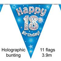 BUNTING HAPPY 18TH BIRTHDAY BLUE HOLOGRAPHIC 11 FLAGS 3.9M