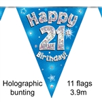 BUNTING HAPPY 21ST BIRTHDAY BLUE HOLOGRAPHIC 11 FLAGS 3.9M