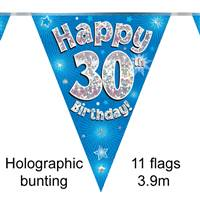 BUNTING HAPPY 30TH BIRTHDAY BLUE HOLOGRAPHIC 11 FLAGS 3.9M