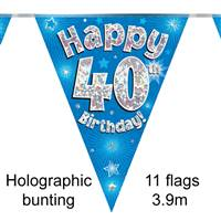 BUNTING HAPPY 40TH BIRTHDAY BLUE HOLOGRAPHIC 11 FLAGS 3.9M
