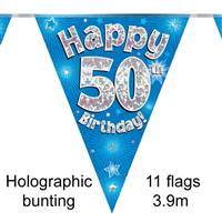 BUNTING HAPPY 50TH BIRTHDAY BLUE HOLOGRAPHIC 11 FLAGS 3.9M