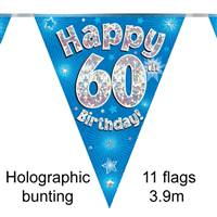 BUNTING HAPPY 60TH BIRTHDAY BLUE HOLOGRAPHIC 11 FLAGS 3.9M
