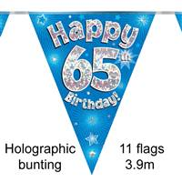 BUNTING HAPPY 65TH BIRTHDAY BLUE HOLOGRAPHIC 11 FLAGS 3.9M