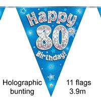 BUNTING HAPPY 80TH BIRTHDAY BLUE HOLOGRAPHIC 11 FLAGS 3.9M