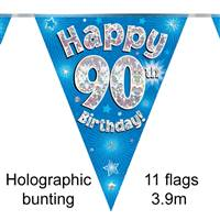 BUNTING HAPPY 90TH BIRTHDAY BLUE HOLOGRAPHIC 11 FLAGS 3.9M
