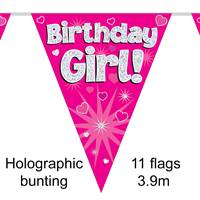 BUNTING BIRTHDAY GIRL PINK 11 FLAGS 3.9M