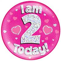 "6"" JUMBO BADGE I AM 2 TODAY PINK HOLOGRAPHIC DOT"