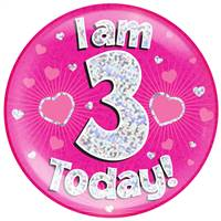 "6"" JUMBO BADGE I AM 3 TODAY PINK HOLOGRAPHIC DOT"