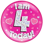 "6"" JUMBO BADGE I AM 4 TODAY PINK HOLOGRAPHIC DOT"