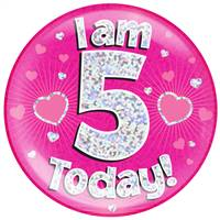 "6"" JUMBO BADGE I AM 5 TODAY PINK HOLOGRAPHIC DOT"