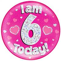 "6"" JUMBO BADGE I AM 6 TODAY PINK HOLOGRAPHIC DOT"