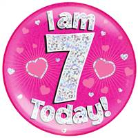 "6"" JUMBO BADGE I AM 7 TODAY PINK HOLOGRAPHIC DOT"
