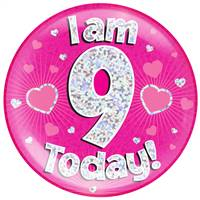 "6"" JUMBO BADGE I AM 9 TODAY PINK HOLOGRAPHIC DOT"