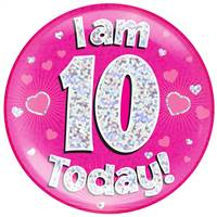 "6"" JUMBO BADGE I AM 10 TODAY PINK HOLOGRAPHIC DOT"
