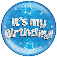 "6"" JUMBO BADGE IT'S MY BIRTHDAY BLUE HOLOGRAPHIC CRACKED ICE"