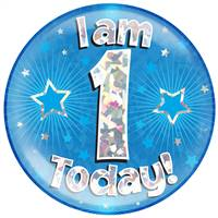 "6"" JUMBO BADGE I AM 1 TODAY BLUE HOLOGRAPHIC CRACKED ICE"