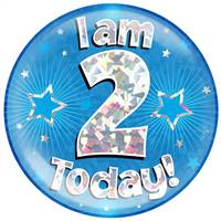 "6"" JUMBO BADGE I AM 2 TODAY BLUE HOLOGRAPHIC CRACKED ICE"