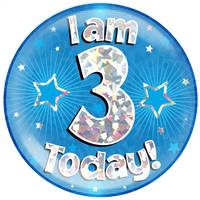 "6"" JUMBO BADGE I AM 3 TODAY BLUE HOLOGRAPHIC CRACKED ICE"