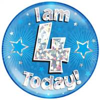 "6"" JUMBO BADGE I AM 4 TODAY BLUE HOLOGRAPHIC CRACKED ICE"