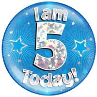 "6"" JUMBO BADGE I AM 5 TODAY BLUE HOLOGRAPHIC CRACKED ICE"